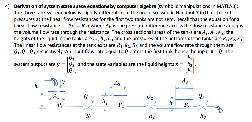 Solved: 4) Derivation Of System State Space Equations By C