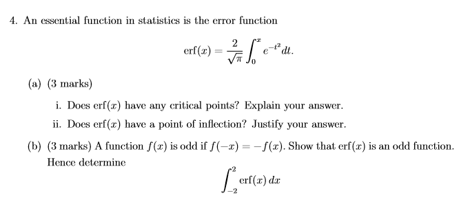 Solved: 4  An Essential Function In Statistics Is The Erro