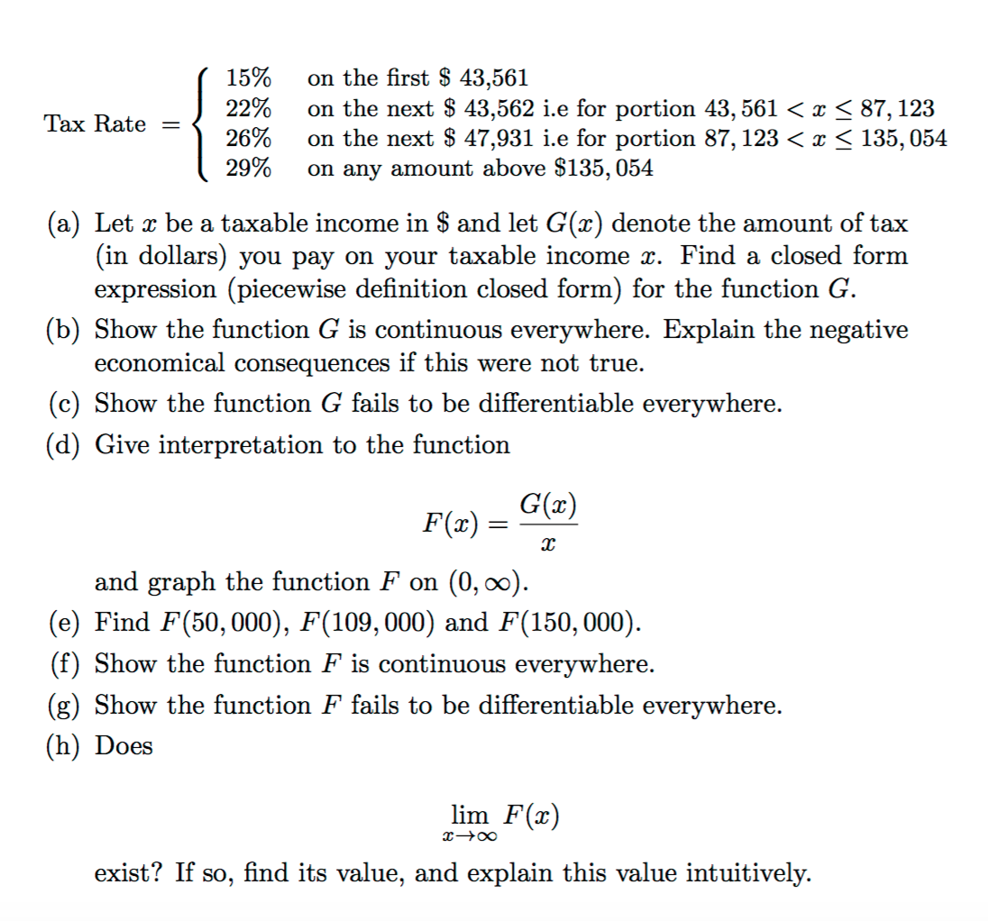 solved: let x be a taxable income in $ and let g(x) denote
