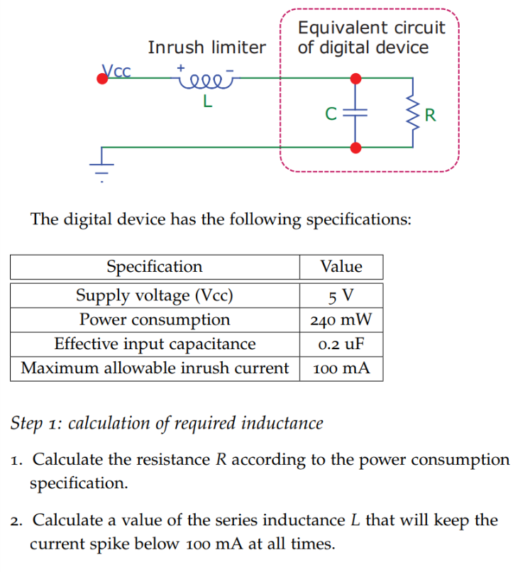 Equivalent circuit Inrush limiterof digital device The digital device has the following specifications: Value Specification Supply voltage (Vcc) Power consumption Effective input capacitance 240 mW 0.2 uF Maximum allowable inrush current 100 mA Step 1: calculation of required inductance 1. Calculate the resistance R according to the power consumption specification. 2. Calculate a value of the series inductance L that will keep the current spike below 100 mA at all times