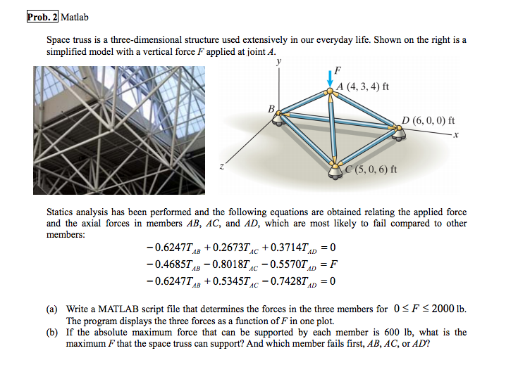 Solved prob 21 matlab space truss is a three dimensional 21 matlab space truss is a three dimensional structure used extensively ccuart Images