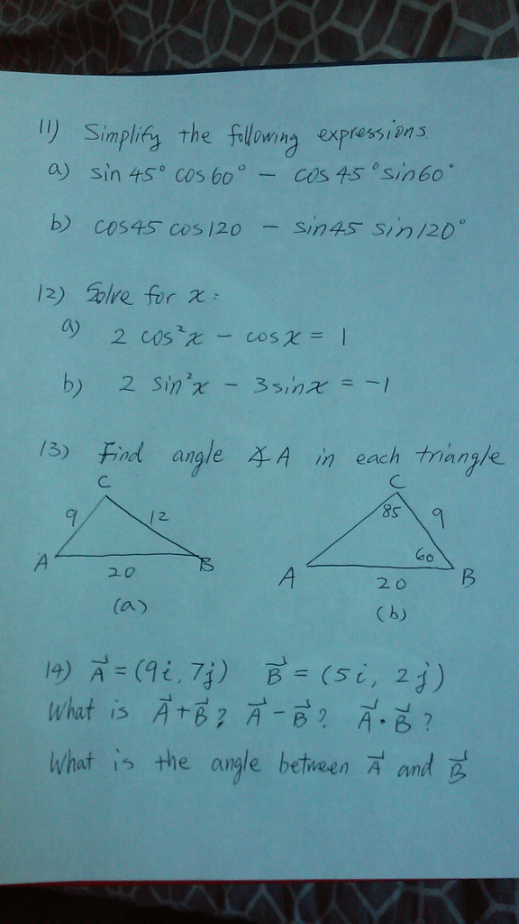 Solved: 1) Simplify The Following Expressions A) Sin 45° C ...