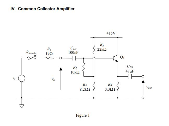 IV. Common Collector Amplifier +15V RI Ikf2 C1/2 100nF R,decade Qi C7/8 R2 10k2 irn R4 8.2kΩ Vout 3.3k2 Figure 1