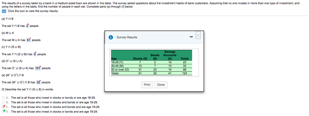 solve step by step the results of a survey taken by a bank in a medium sized town are
