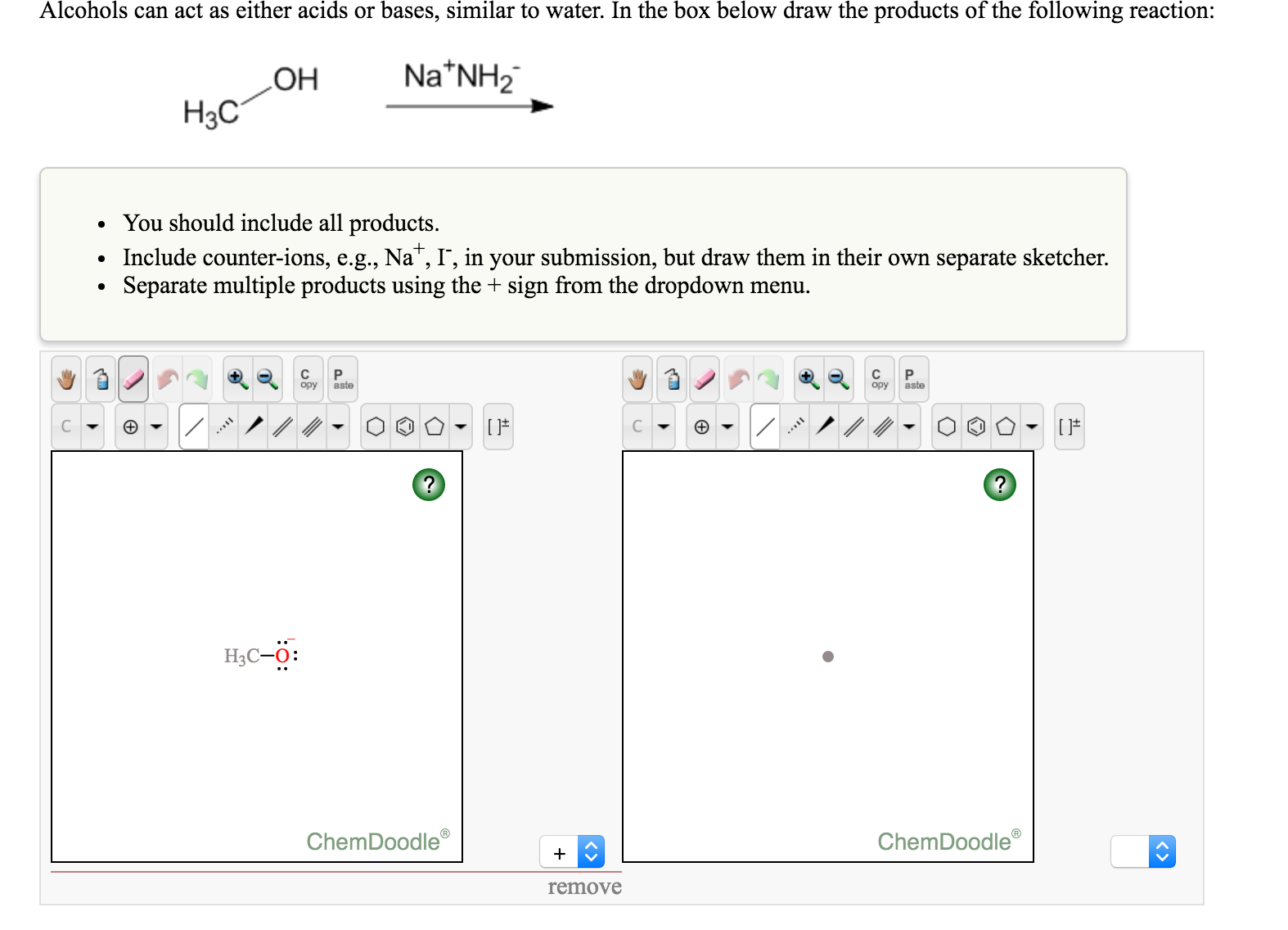 Solved: Alcohols Can Act As Either Acids Or Bases, Similar ...