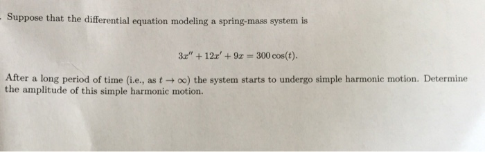Solved: Suppose That The Differential Equation Modelling A