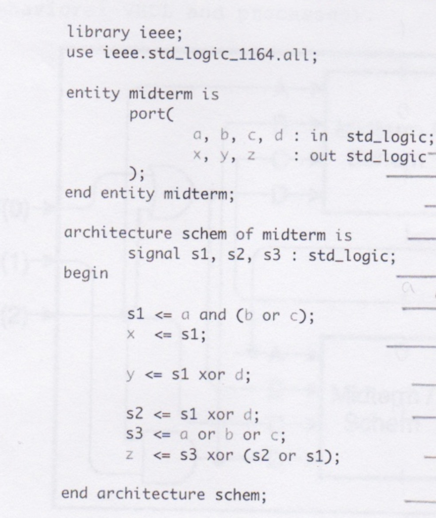 Solved 21 Pts Refer To The Following Vhdl Code Snippet For More On Circuit Schematics See Show Transcribed Image Text A Draw Logical Schematic Diagram That Represents