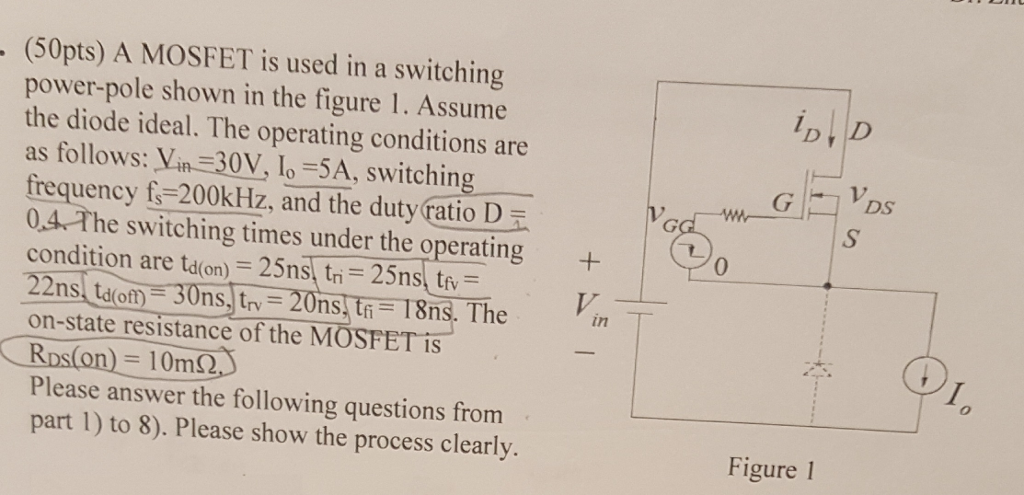 Electrical engineering archive september 20 2017 chegg 50pts a mosfet is used in a switching power pole shown in the fandeluxe Choice Image