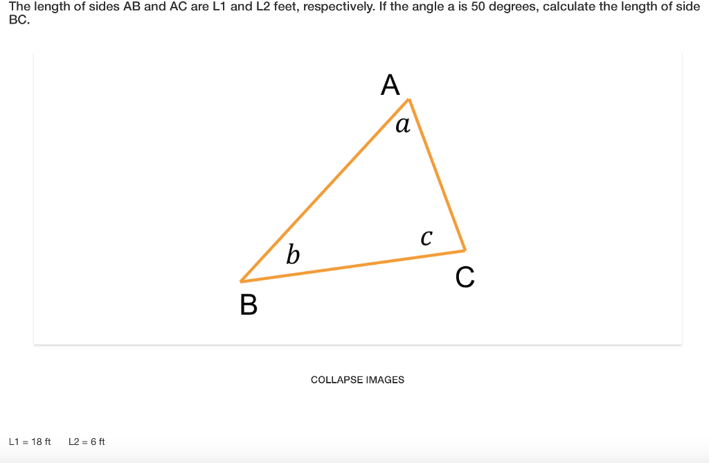Solved: The Length Of Sides AB And AC Are L1 And L2 Feet ...