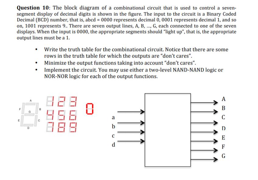 [DIAGRAM_3US]  Solved: Question 10: The Block Diagram Of A Combinational ... | Chegg.com | 7 Segment Display Block Diagram |  | Chegg