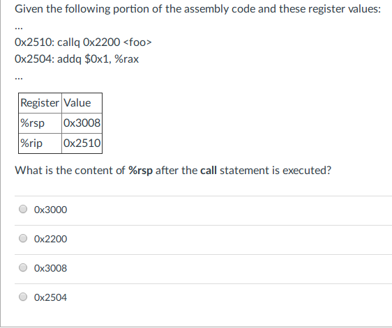 Solved: Given The Following Portion Of The Assembly Code A