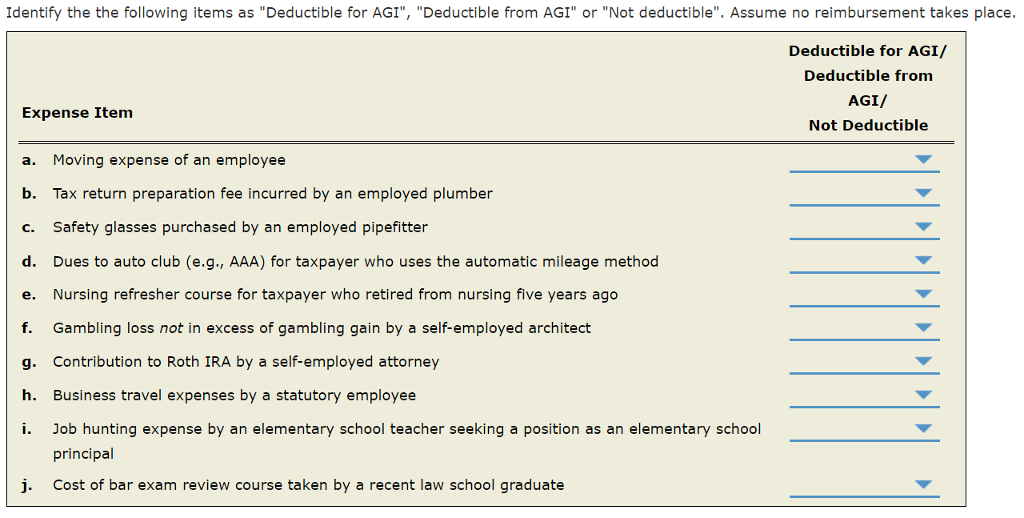 solved  identify the following items as  u0026quot deductible for ag