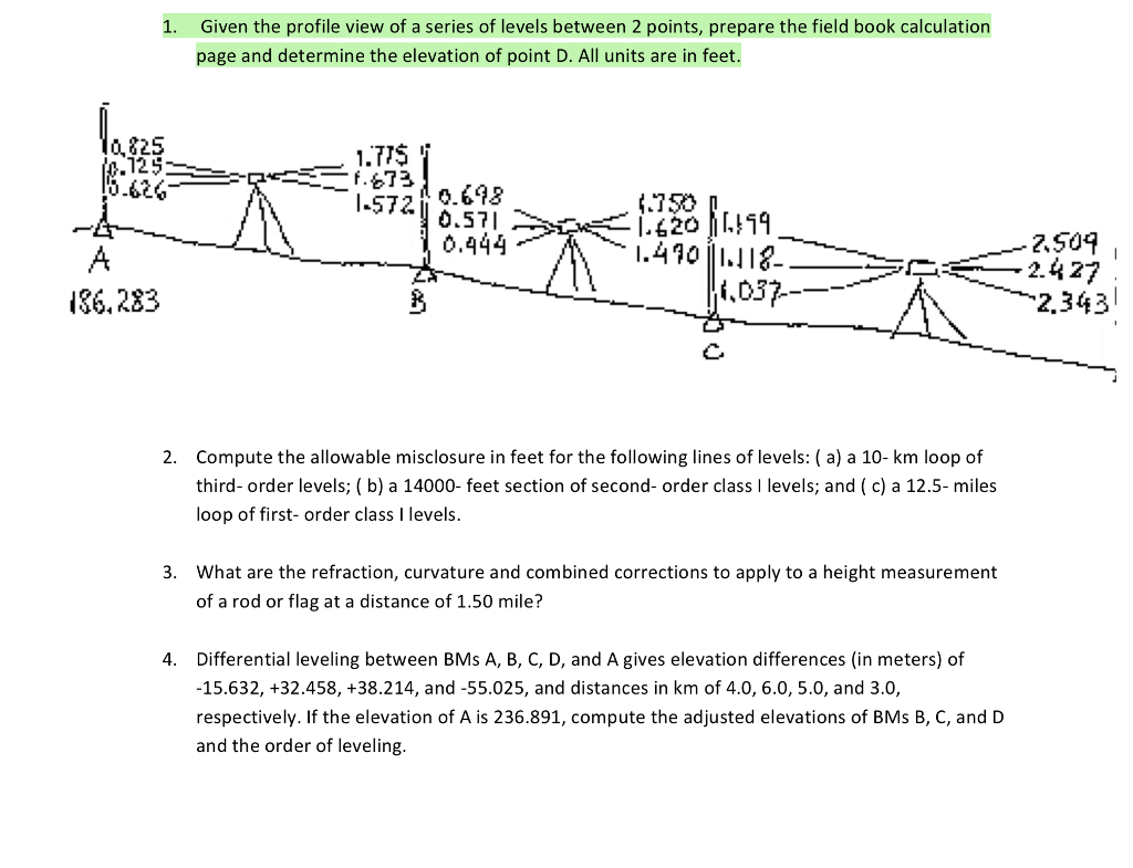 solved given the profile view of a series of levels betwe