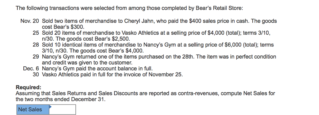 Accounting archive october 12 2017 chegg the following transactions were selected from among those completed by bears retail store nov 20 fandeluxe Image collections