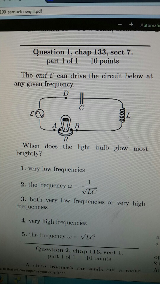 Solved: The Emf Eplision Can Drive The Circuit Below At An ...