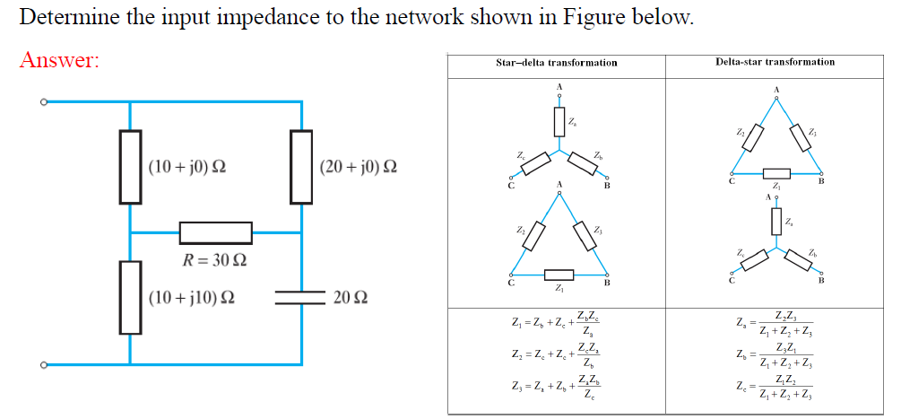 Solved: Determine The Input Impedance To The Network Shown