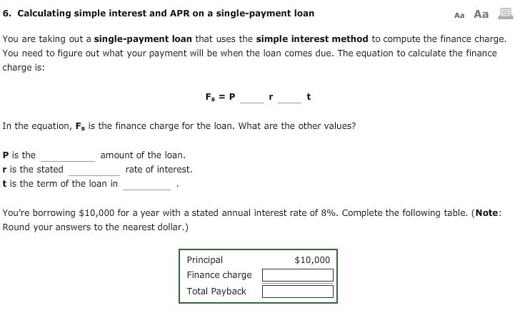 solved 6 calculating simple interest and apr on a single