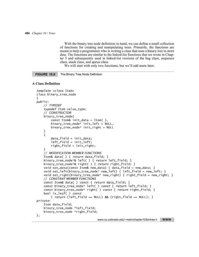 Solved Using The Binarytreenode From Textbook Write An
