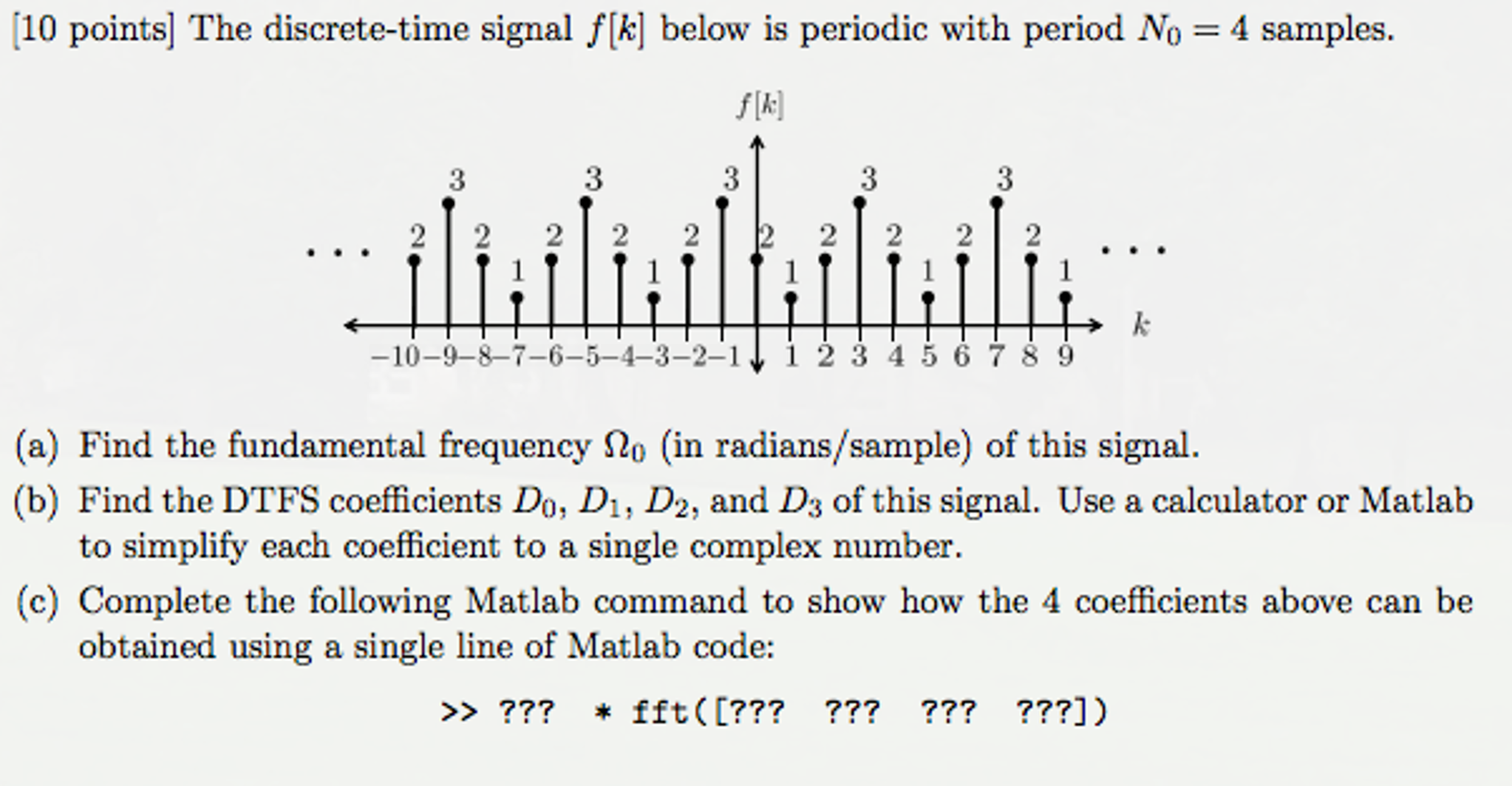 Solved: The Discrete-time Signal F[k] Below Is Periodic Wi