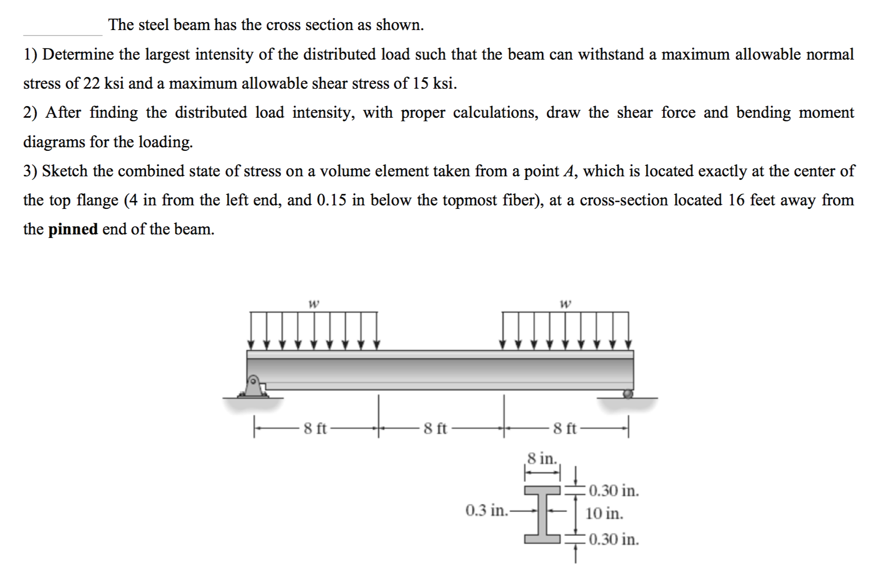 The Steel Beam Has Cross Section As Shown 1 Force Bending Moment Diagram For Uniformly Distributed Load On If You Question Determine Largest Intensity Of Distribu