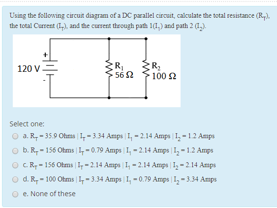 Solved using the following circuit diagram of a dc parall question using the following circuit diagram of a dc parallel circuit calculate the total resistance rt ccuart Images