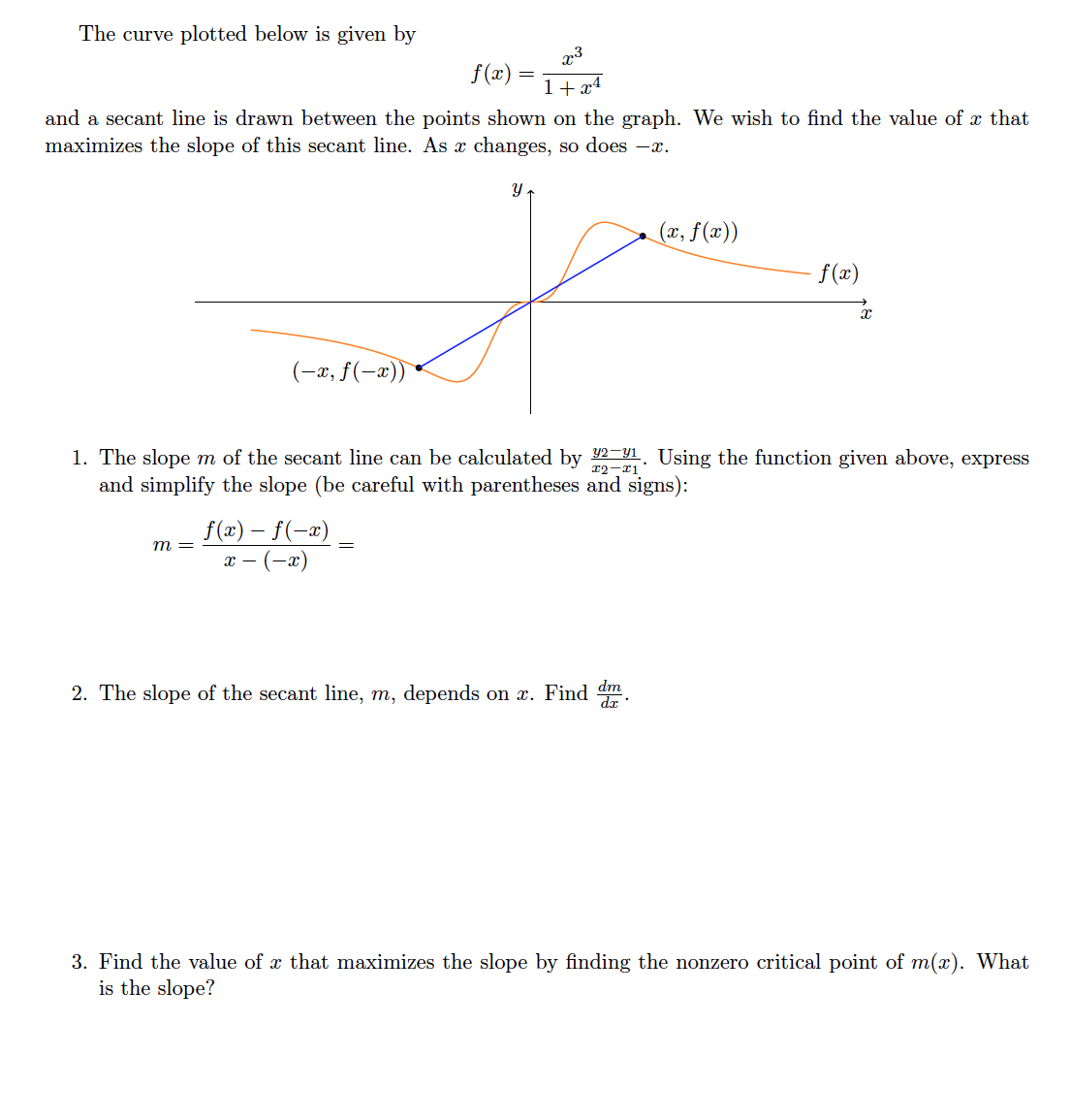 1 + X4 And A Secant Line Is  Drawn Between The Points Shown On The Graph We Wish To Find The Value Of