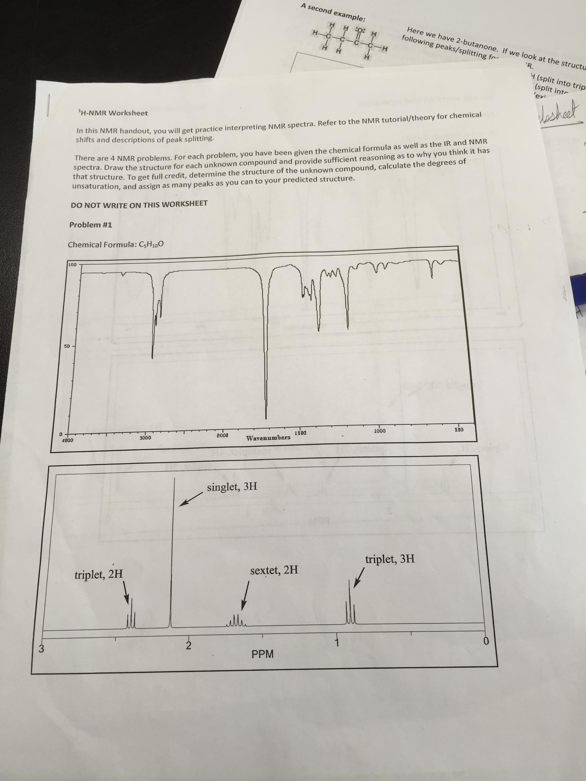 H-NMR Worksheet: Problem 1: Chemical Formula Is C5... | Chegg.com