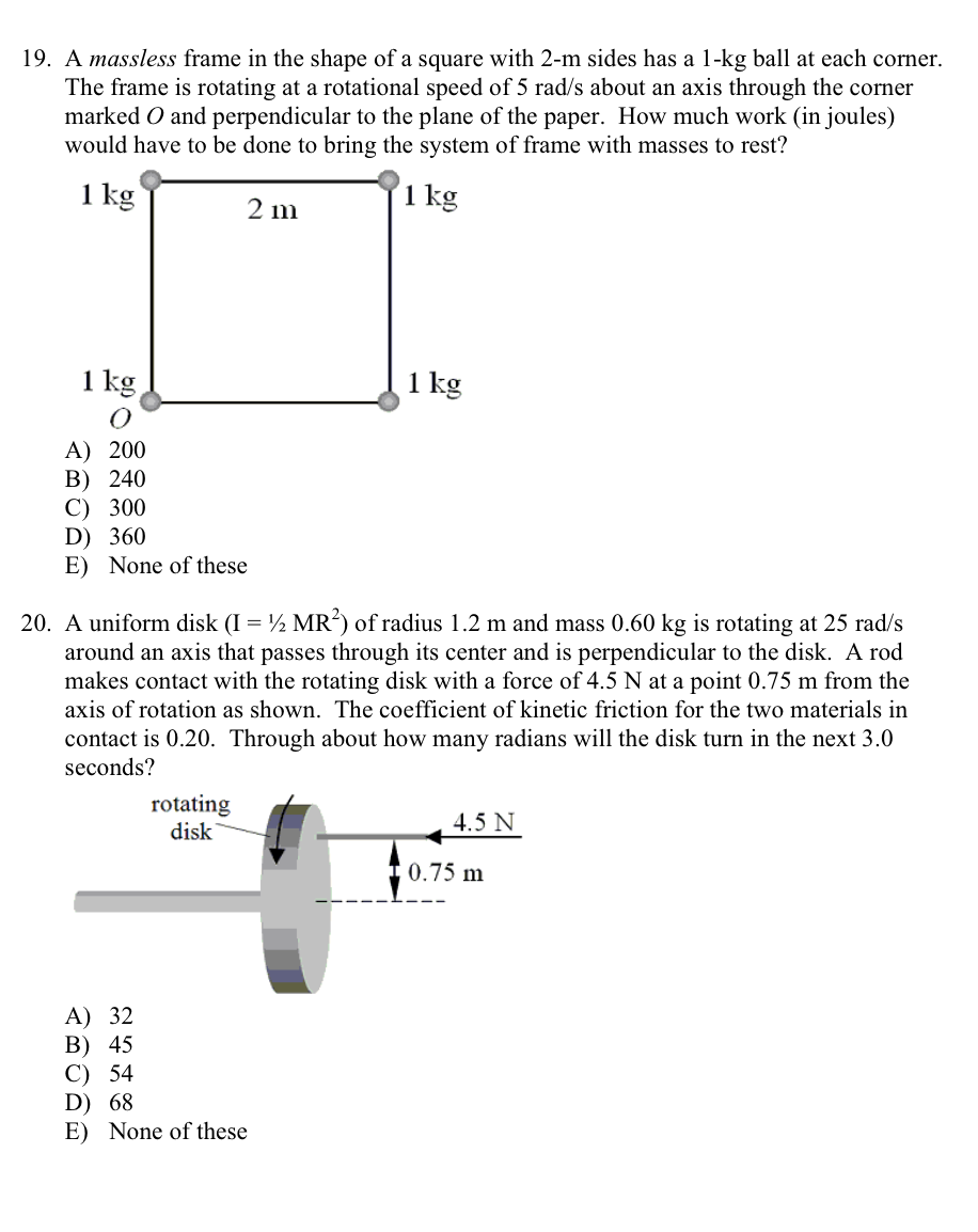 Solved: A Massless Frame In The Shape Of A Square With 2-m ...