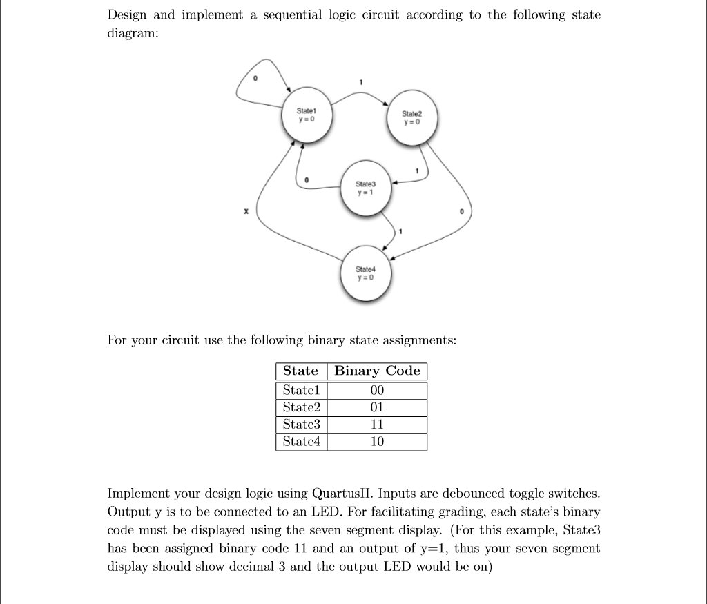 Solved Design And Implement A Sequential Logic Circuit Ac Debounce Switch According To The Following State Diagram Statet Y