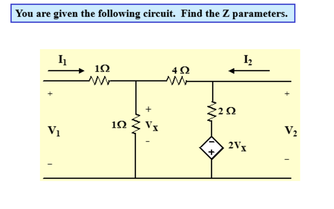 You are given the following circuit. Find the Z pa