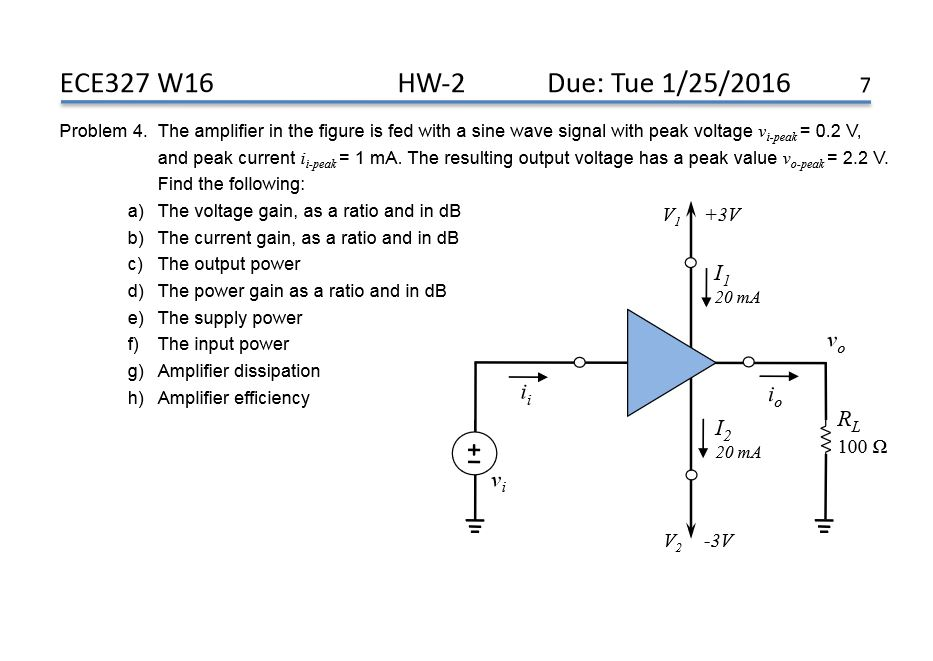Solved the amplifier in the figure is fed with a sine wav question the amplifier in the figure is fed with a sine wave signal with peak voltage vi peak02 v and publicscrutiny Choice Image