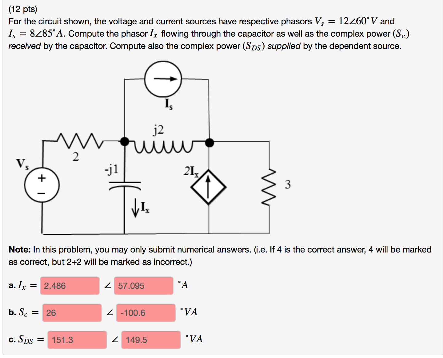 solved for the circuit shown the voltage and current sou