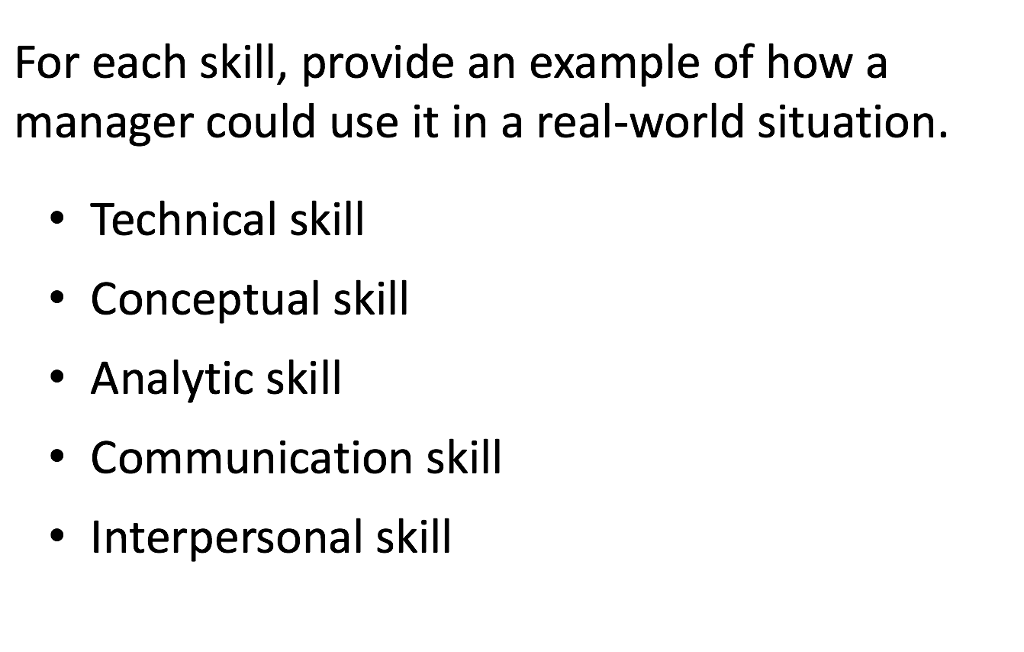 solved for each skill provide an example of how a manage