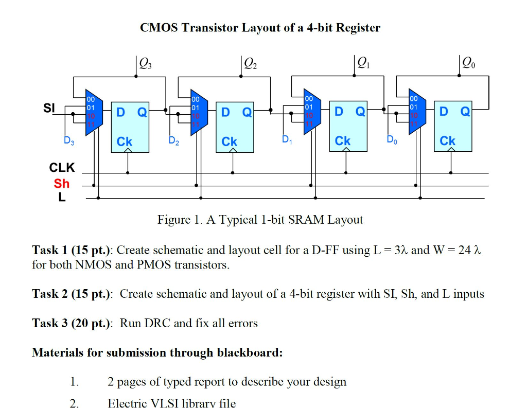 Solved: CMOS TRANSISTOR LAYOUT OF A 4-BIT REGISTER - Task ...