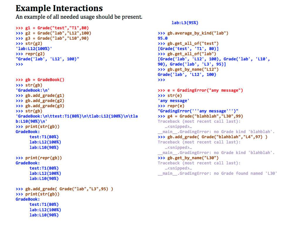 example interactions an example of all needed usage should be present lab l3 95