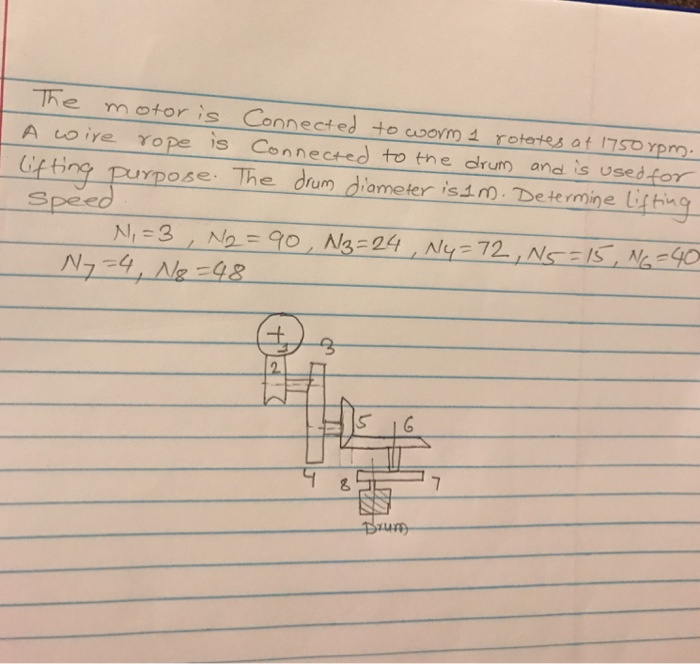 Solved: The Motor Is Connected To Worm 1 Rotates Of 1750 R ...