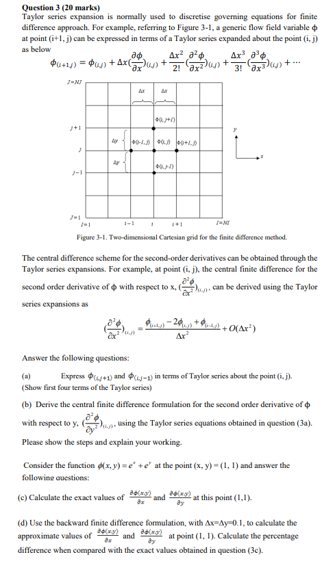 Solved: Question 3 (20 Marks) Taylor Series Expansion Is N