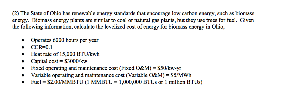 The State Of Ohio Has Renewable Energy Standards T    | Chegg com