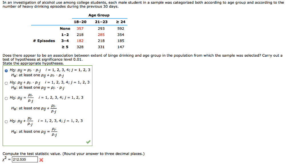 Solved: in an investigation of alcohol use among college s.