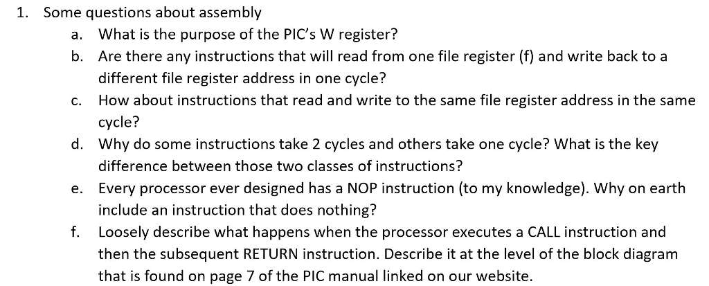 Solved Some Questions About Assembly A What Is The Purpo