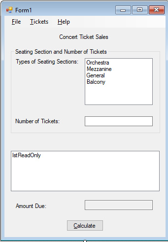solved create a project to keep track of concert ticket s