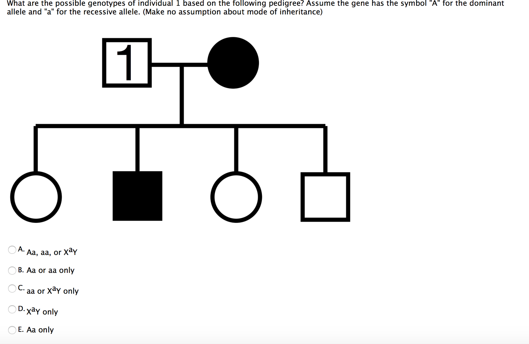 Solved What Are The Possible Genotypes Of Individual 1 Ba