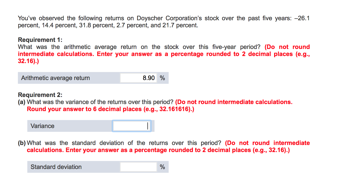 You've Observed The Following Returns On Doyscher Marketshareanalysispany  Applications Mon Png Conditions In Context Standard Deviation Risk  Calculation