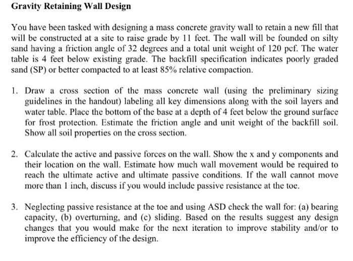 Gravity Retaining Wall Design You Have Been Tasked    | Chegg com