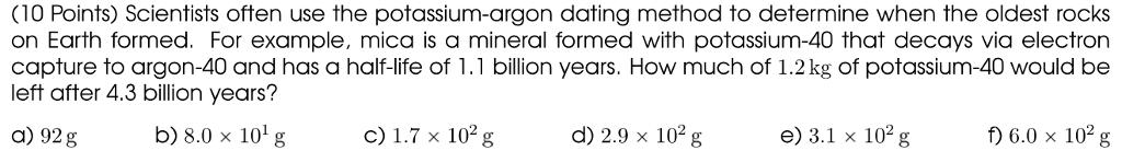 Potassium argon dating example