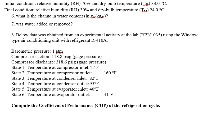 Initial Condition Relative Humidity RH 70 And Dry Bulb Temperature