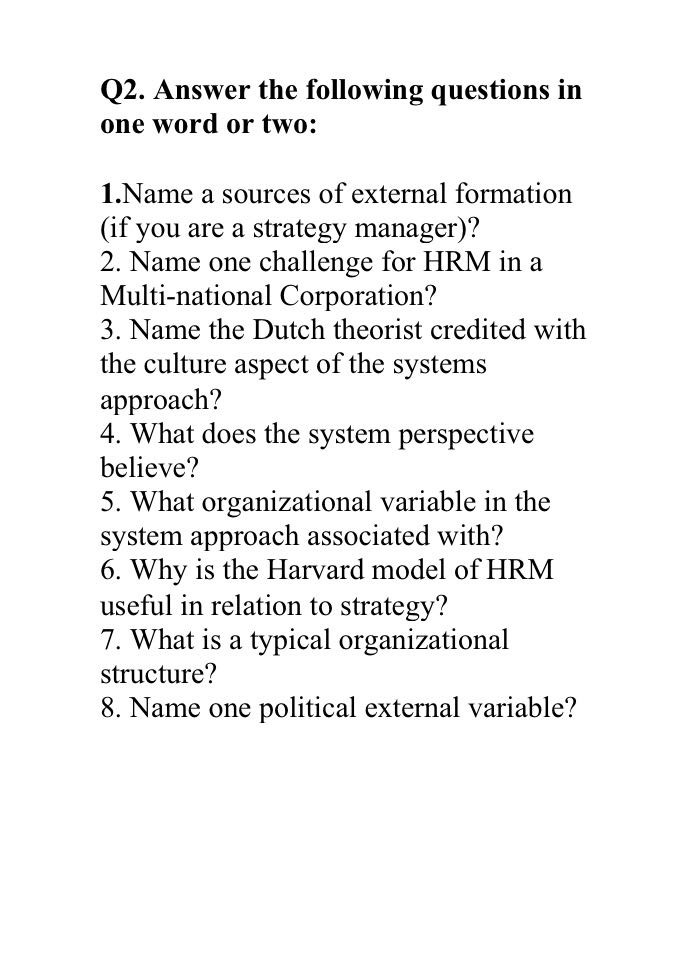 Solved: Q2  Answer The Following Questions In One Word Or