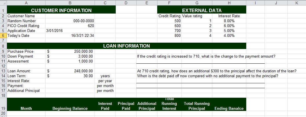 Solved: Excel Question Q:For Interest Rate Use The VLOOKUP