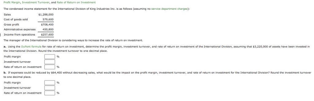 Using The DuPont Formula For Rate Of Return On Inv    | Chegg com