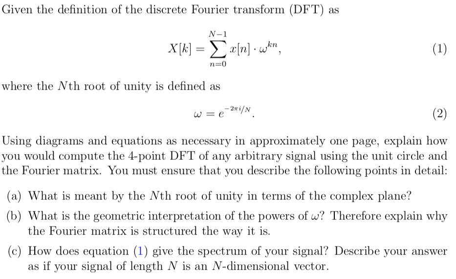 Solved Given The Definition Of The Discrete Fourier Trans